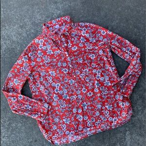 Gap large red floral button down shirt